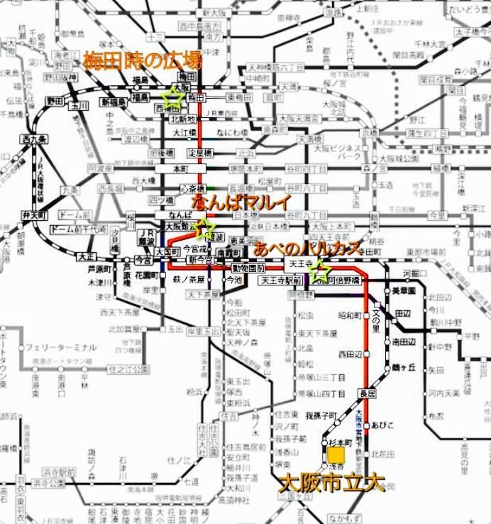 阪和線VS御堂筋線 路線図